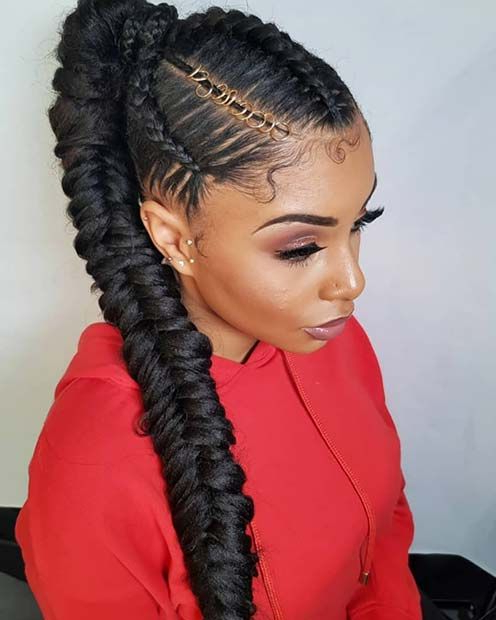 43 Best Braided Ponytail Hairstyles For 2019 | Braided Intended For Most Recently Ponytail Fishtail Braid Hairstyles (View 21 of 25)