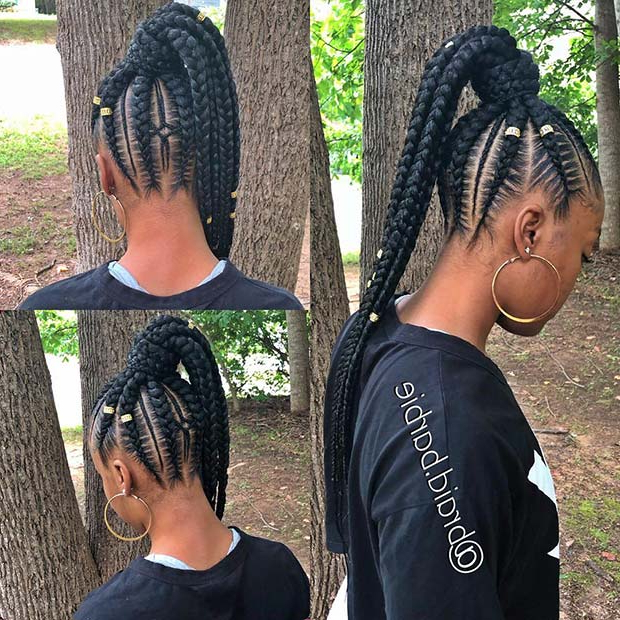 43 Best Braided Ponytail Hairstyles For 2019 | Page 2 Of 4 for Latest Cornrow Fishtail Side Braid Hairstyles