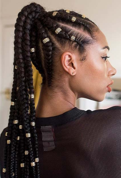 43 Best Braided Ponytail Hairstyles For 2019 | Stayglam Inside Most Popular Cornrow Fishtail Side Braid Hairstyles (View 7 of 25)