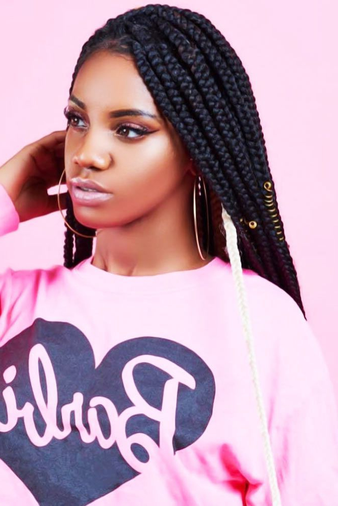 45 Enviable Ways To Rock The Latest Black Braided Hairstyles in Most Up-to-Date Cornrow Accent Braids Hairstyles