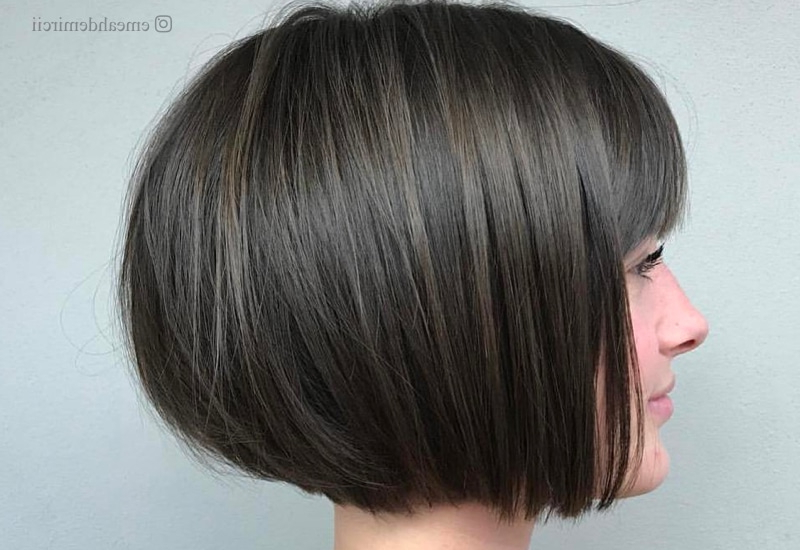 46 Cute Bob Haircuts With Bangs To Copy In 2020 for Stacked Swing Bob Hairstyles