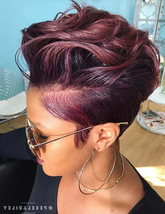 50 Short Hairstyles For Black Women | Stayglam Inside Current Plum Brown Pixie Haircuts For Naturally Curly Hair (View 16 of 25)