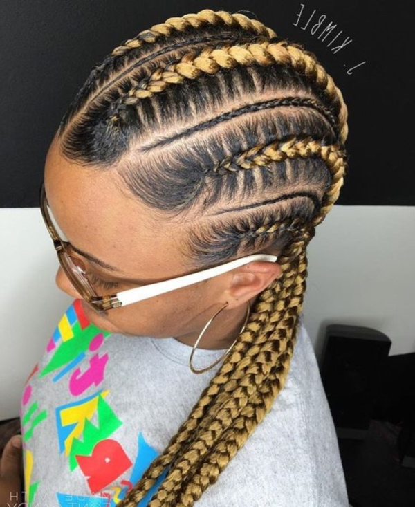 58 Beautiful Cornrows Hairstyles For Women Intended For Recent Thick Plaits And Narrow Cornrows Hairstyles (View 7 of 25)