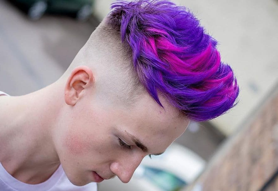 7 Funky Purple Hairstyles For Men [2020] – Hairstylecamp throughout Most Up-to-Date Faux-Hawk Fade Haircuts With Purple Highlights