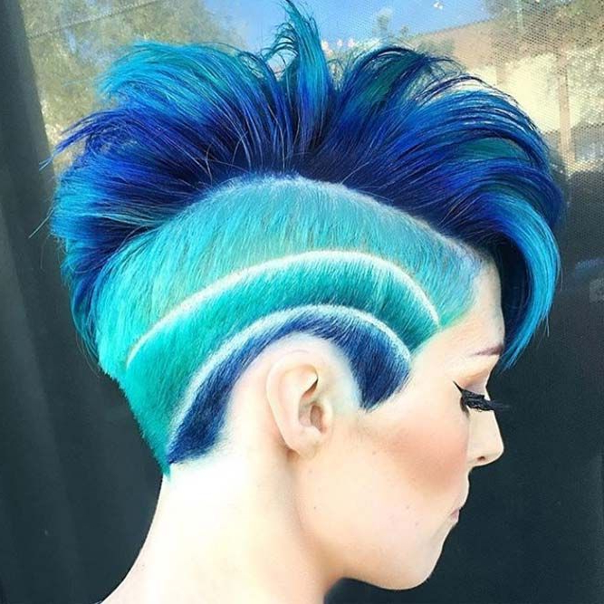 70 Amazing Short Haircuts For Women | Undercut Hair Designs in Latest Aqua Green Undercut Hairstyles