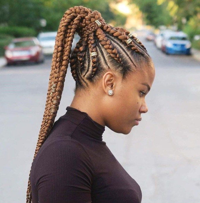 70 Best Black Braided Hairstyles That Turn Heads In 2020 Intended For 2020 Thick Plaits And Narrow Cornrows Hairstyles (View 3 of 25)