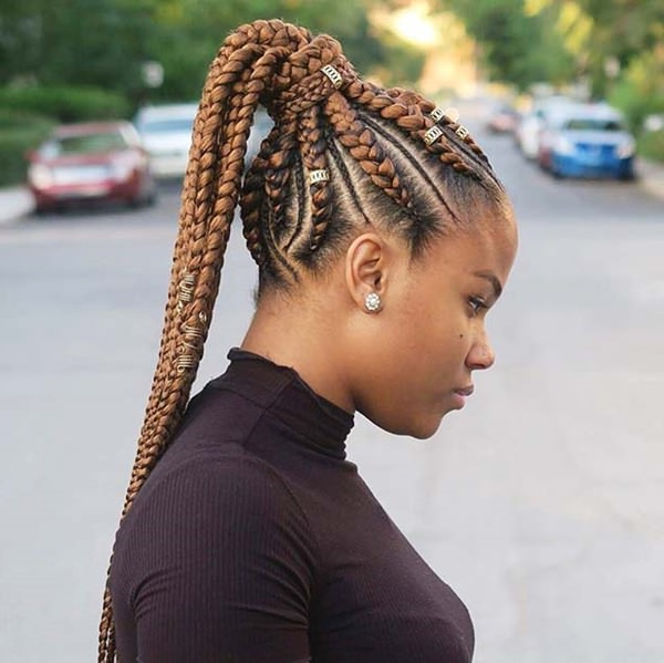 80 Amazing Feed In Braids For 2020 intended for Most Up-to-Date Accessorized Straight-Backs Braids