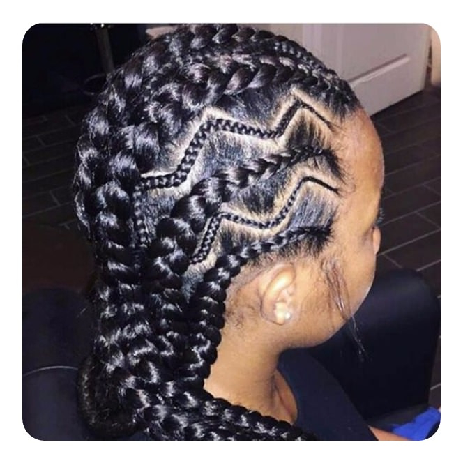 96 Stunning And Elaborate Ghana Braids To Try This Season Intended For Recent Zig Zag Cornrows Hairstyles (View 23 of 25)