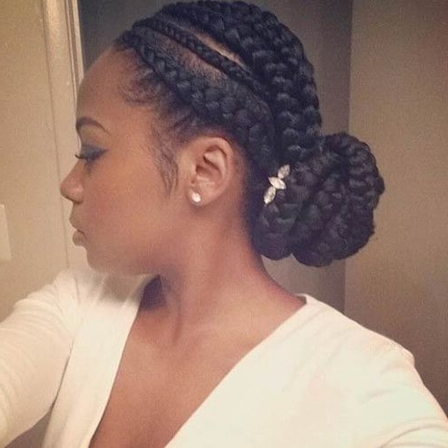 Accessorized Ghana Braids Bun | Cool Braid Hairstyles Within Latest Accessorized Straight Backs Braids (View 2 of 25)