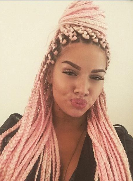 Aliexpress : Buy Sweet Pink Box Braids Cabelo Hair 5Pcs Intended For Newest Baby Pink Braids Hairstyles (View 13 of 25)