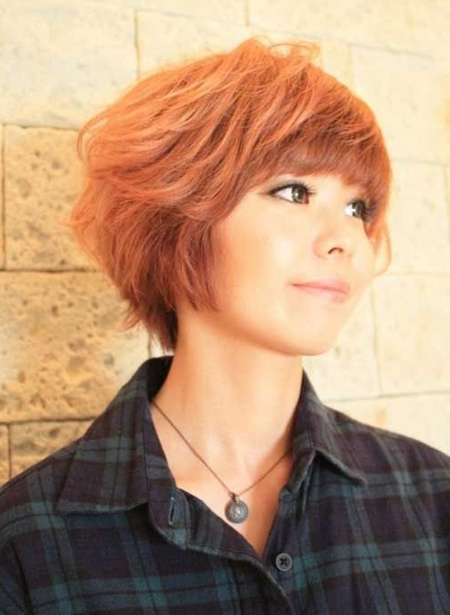 Asian Short Hairstyles With Blunt Bangs – Popular Haircuts Throughout Most Recent Pageboy Maroon Red Pixie Haircuts (View 23 of 25)