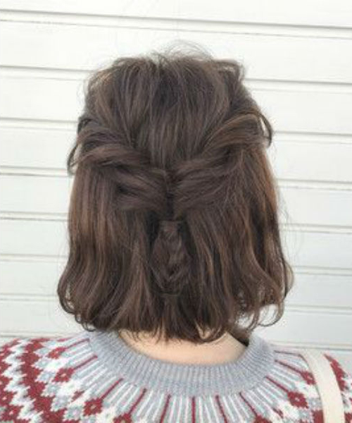 Back View Of Half Braided Short Hairstyles For Asian Girls Within 2020 Braided Short Hairstyles (View 15 of 25)
