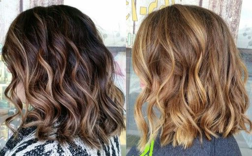 Balayage Dark Hair Carmel Beach Waves Lob Long Bob Short With Regard To Beach Wave Bob Hairstyles With Highlights (View 3 of 25)