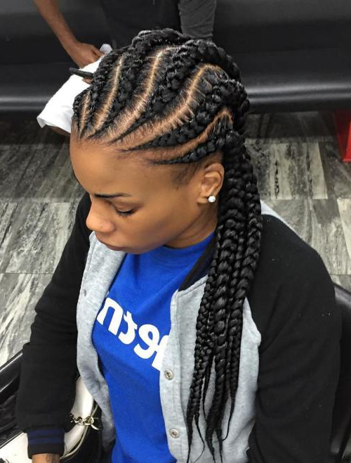 Black Braided Hairstyles 2019 – Big, Small, African, 2 And 4 Pertaining To Most Current Straight Backs Braids Hairstyles (View 22 of 25)