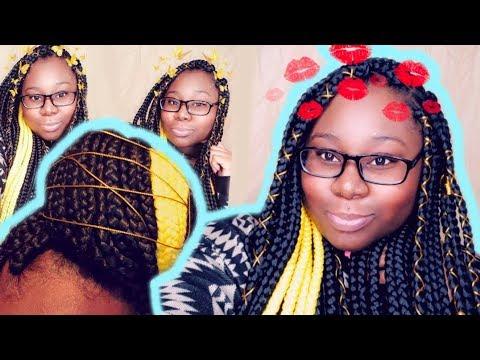 Black & Yellow Peek A Boo Box Braids | Gold Tingz + Girl Talk Regarding Most Recent Peek A Boo Braid Hairstyles (View 17 of 25)