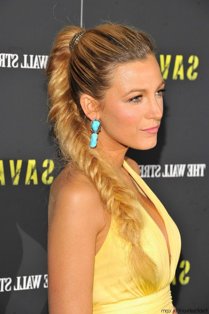 Blake Lively With Ponytail Fishtail Braid Hairstyle | Fab Pertaining To Current Ponytail Fishtail Braid Hairstyles (View 23 of 25)