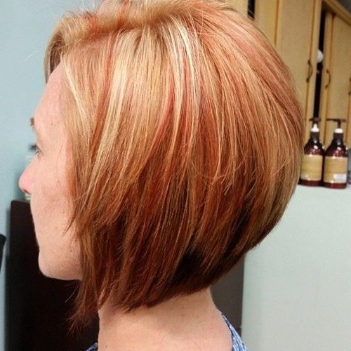 Blonde Bob Hairstyle With Red Highlights – Straight Short Intended For Sassy Angled Blonde Bob Hairstyles (View 9 of 25)