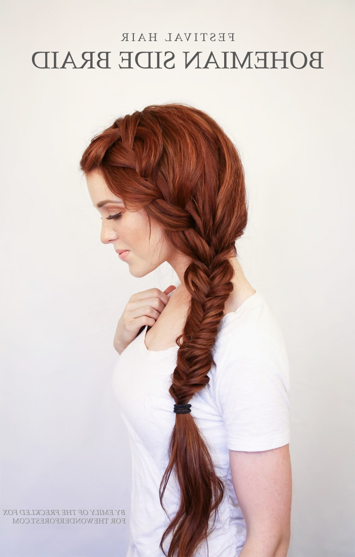 Bohemian Side Braid Festival Hair Tutorial – Wonder Forest Intended For Recent Fishtail Side Braid Hairstyles (View 24 of 25)