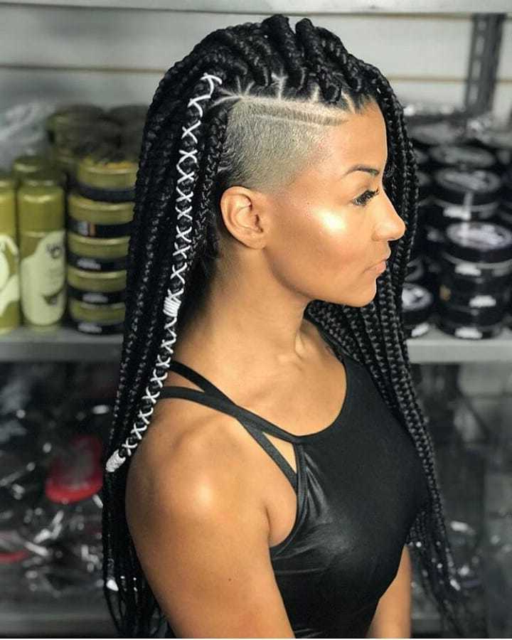 Box Braids With Shaved Sides: 21 Stylish Ways To Rock The Look Regarding Newest Side Shaved Cornrows Braids Hairstyles (View 17 of 25)