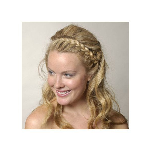 Braid Headband With Long Waves Found On Polyvore   Wedding Inside Most Recent Headband Braid Hairstyles With Long Waves (View 23 of 25)