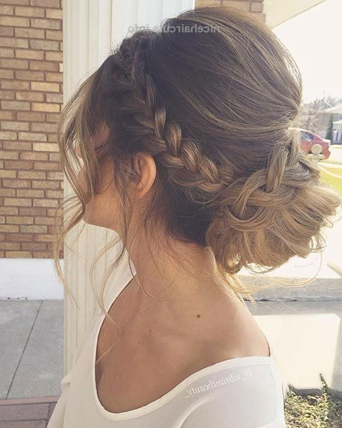 Braid In A Low Bun Updo Hairstyle For Prom | Prom Hairstyles Throughout Current Plaited Low Bun Braid Hairstyles (View 2 of 25)