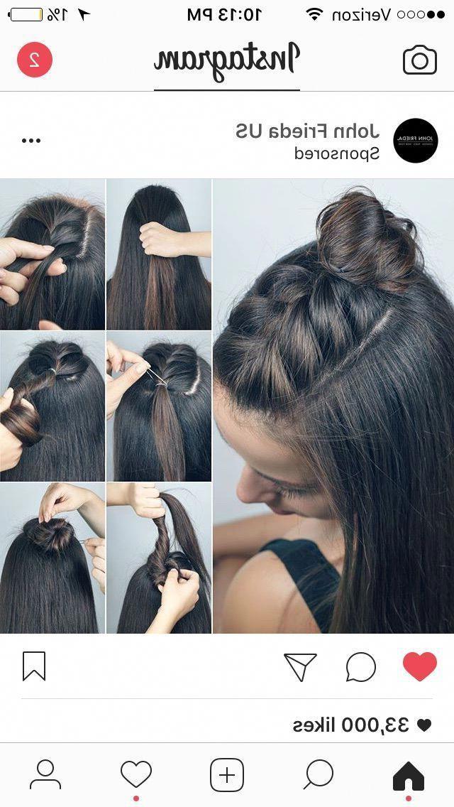 Braided Half Bun Knot! (Topknot) #diyhairstyles, #hairstyles Regarding Newest Braided Topknot Hairstyles (View 17 of 25)