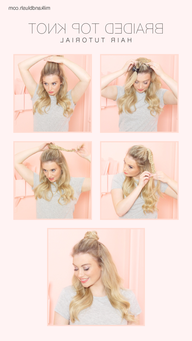 Braided Top Knot Hair Tutorial – Hair Extensions Blog | Hair Pertaining To Most Recent Braided Topknot Hairstyles (View 18 of 25)