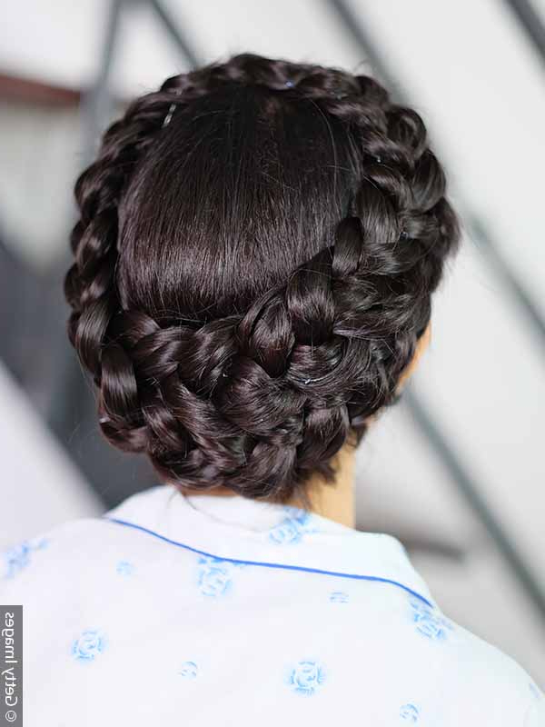 Braiding How To: Style A Crown Braid Four Ways Pertaining To Best And Newest Angular Crown Braid Hairstyles (View 8 of 25)