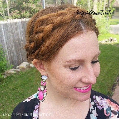 Bright Milkmaid Braid With Bangs – 20 Chic Milkmaid Braid Inside Most Current Milkmaid Crown Braids Hairstyles (View 14 of 25)