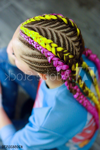 Creative Hairstyle Of Thin And Thick Plaits With Pertaining To Best And Newest Thick Plaits And Narrow Cornrows Hairstyles (View 17 of 25)
