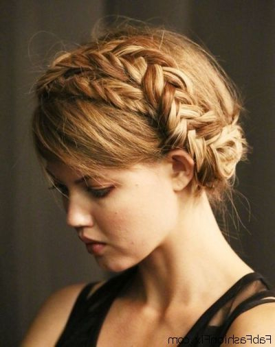 Crown Braid Hairstyle Tutorial | Fab Fashion Fix inside Most Current Halo Braid Hairstyles With Long Tendrils