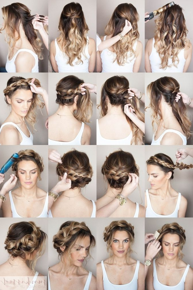 Crown Braid/halo Braid Braided Hair Tutorial // Skmu // Blog within Most Current Halo Braid Hairstyles With Bangs