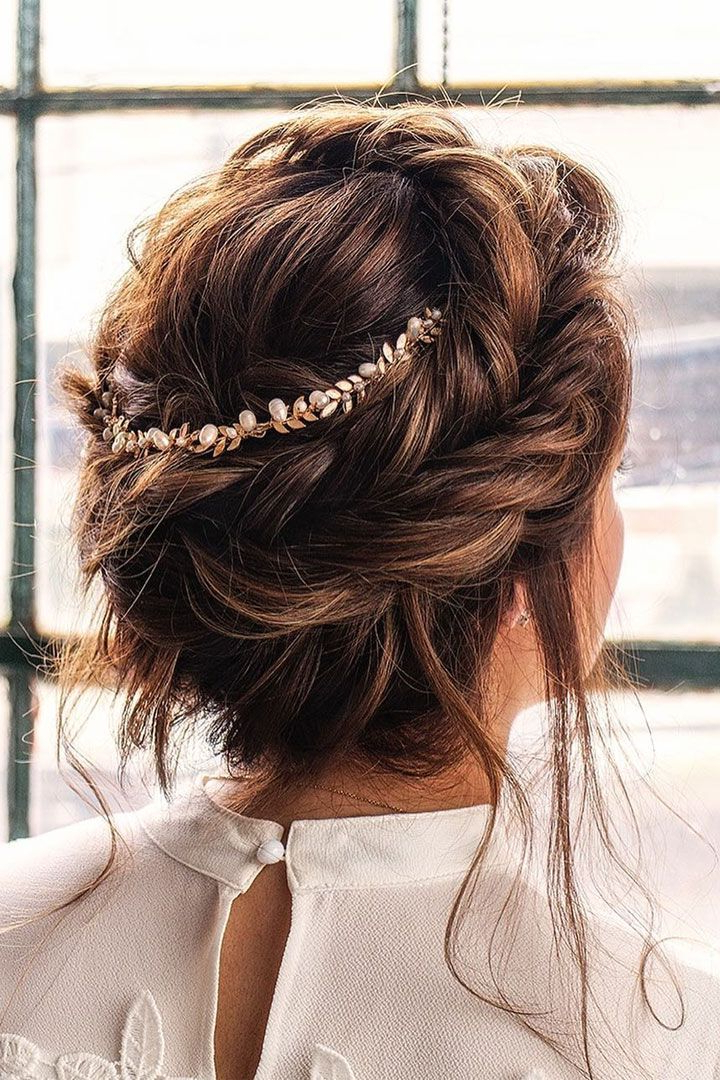 Crown Braid With Messy Updo Hairstyle Idea | Wedding With Most Up To Date Messy Crown Braid Hairstyles (View 2 of 25)
