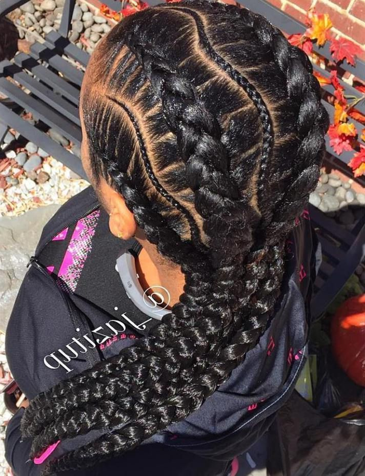 Featured Photo of Thick Plaits And Narrow Cornrows Hairstyles