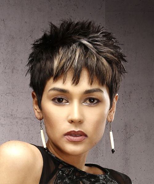 Dark Brunette Pixie Cut With Razor Cut Bangs And Blonde For Best And Newest Dark Pixie Haircuts With Blonde Highlights (View 12 of 25)