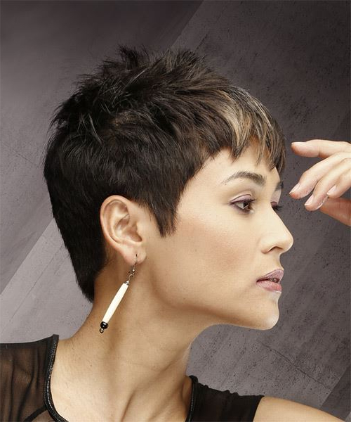 Dark Brunette Pixie Cut With Razor Cut Bangs And Blonde pertaining to Most Recent Dark Pixie Haircuts With Blonde Highlights