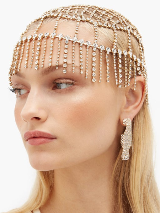 Divinità Crystal-Embellished Headpiece | Rosantica with Most Recently Hoop-Embellished Braids Hairstyles