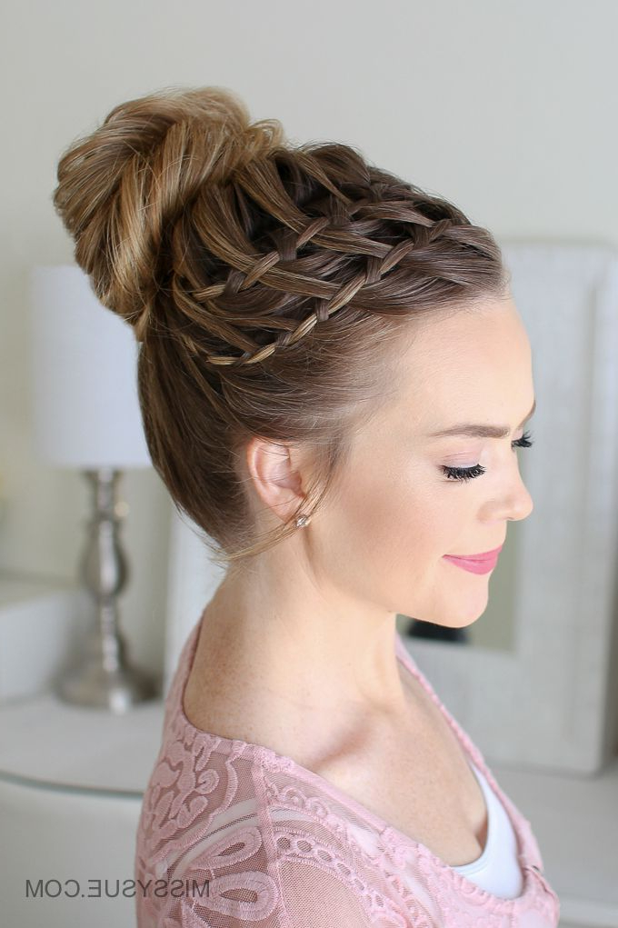 Double Waterfall Braid High Bun | Braided Hairstyles, Double Regarding Most Popular High Waterfall Braid Hairstyles (View 2 of 25)