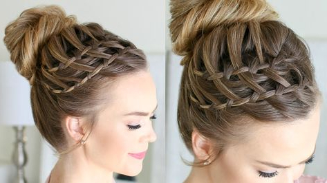 Double Waterfall Braid High Bun | Missy Sue | Cool Hair Inside Newest High Waterfall Braid Hairstyles (View 24 of 25)