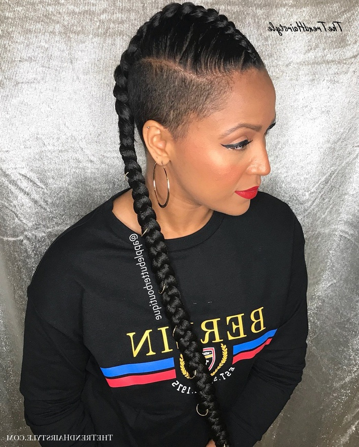 Dutch Braided Hairstyle With Shaved Sides – 20 Superb Braids With Most Popular Side Shaved Cornrows Braids Hairstyles (View 5 of 25)