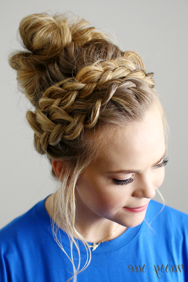 Dutch Braided Top Knot With Current Braided Topknot Hairstyles (View 15 of 25)