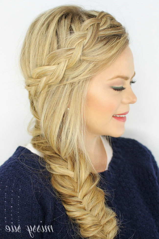 Dutch Fishtail Side Braid within Most Up-to-Date Fishtail Side Braid Hairstyles