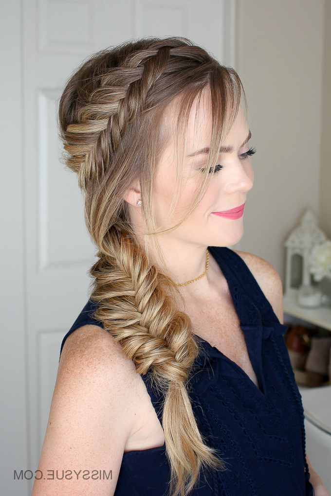Dutch Fishtail Summer Side Braid | Missy Sue for Most Up-to-Date Fishtail Side Braid Hairstyles