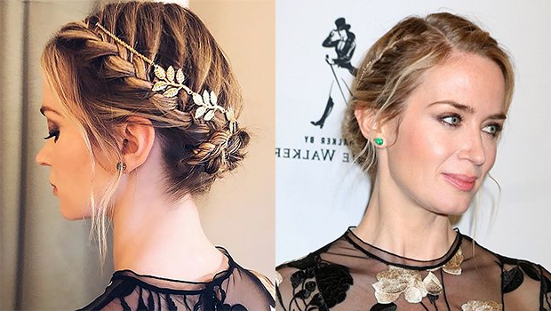 Emily Blunt's Crown Braid At Time 100 Was Most Beautiful With Regard To Newest Angular Crown Braid Hairstyles (View 7 of 25)