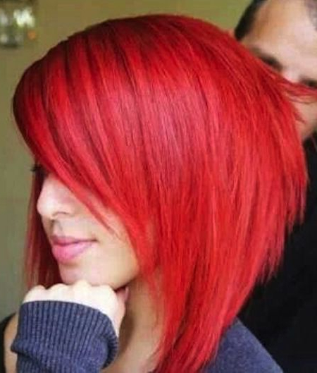 Extreme Angled Edge In Back, Very Strong Taper In Front Pertaining To Bright Red Bob Hairstyles (View 4 of 25)
