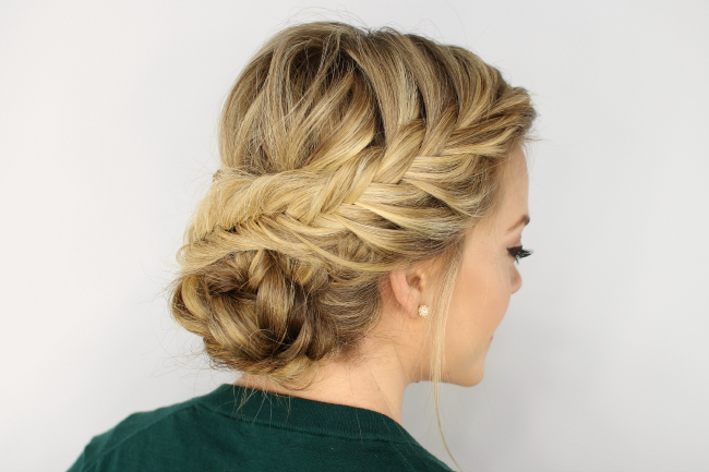 Fishtail Braided Updo with regard to Newest Plaited Low Bun Braid Hairstyles