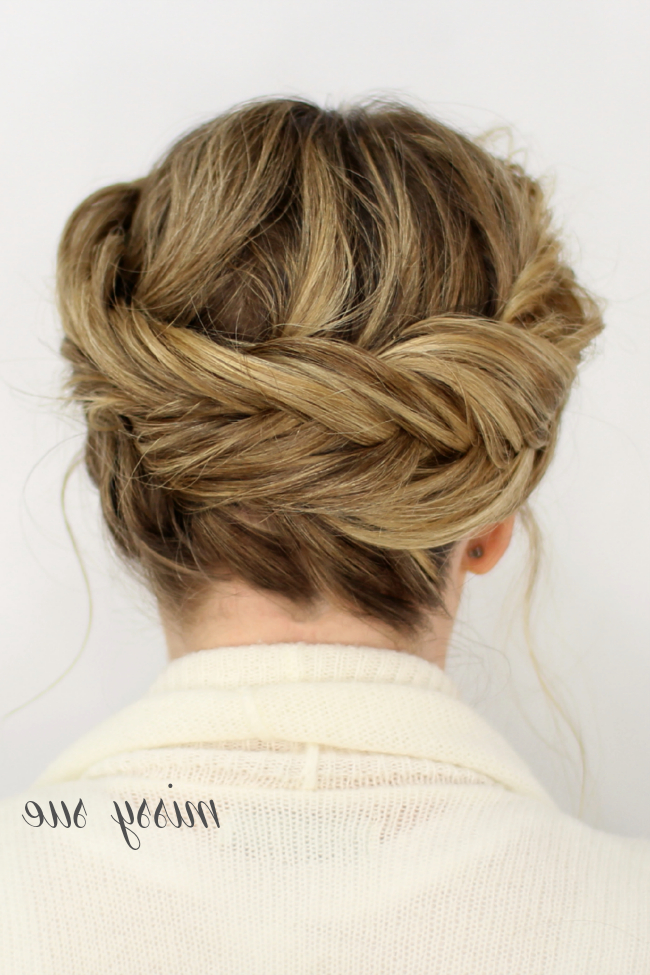 Fishtail Crown Braid throughout Most Up-to-Date Fishtail Crown Braid Hairstyles