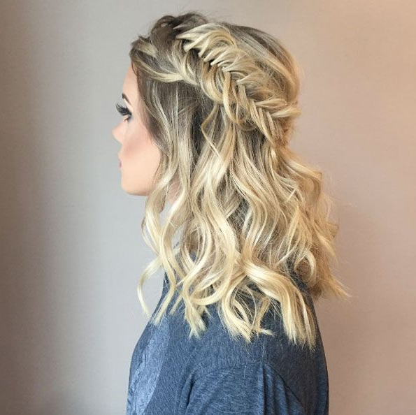 Fishtail Crown Braidemily Hill | Prom Hairstyles For with Most Current Fishtail Crown Braid Hairstyles