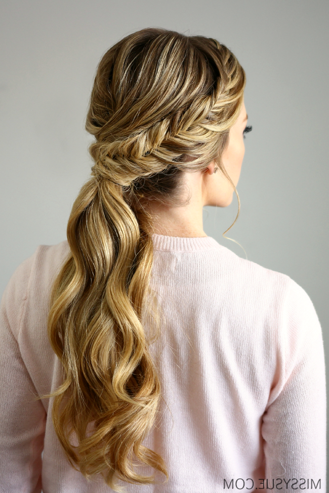 Fishtail Embellished Ponytail Within Most Recent Ponytail Fishtail Braid Hairstyles (View 3 of 25)