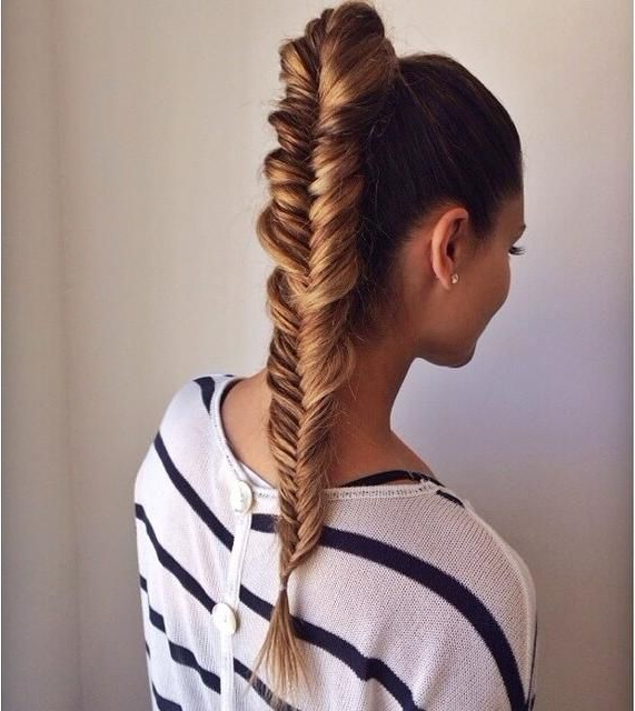 Fishtail Pony Braid #provestra #skinception #coupon Code within Latest Ponytail Fishtail Braid Hairstyles
